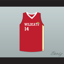 Troy Bolton 14 East High School Wildcats Red Basketball Jersey HSM3