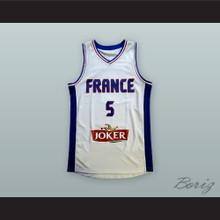 Nicolas Batum 5 France National Team White Basketball Jersey
