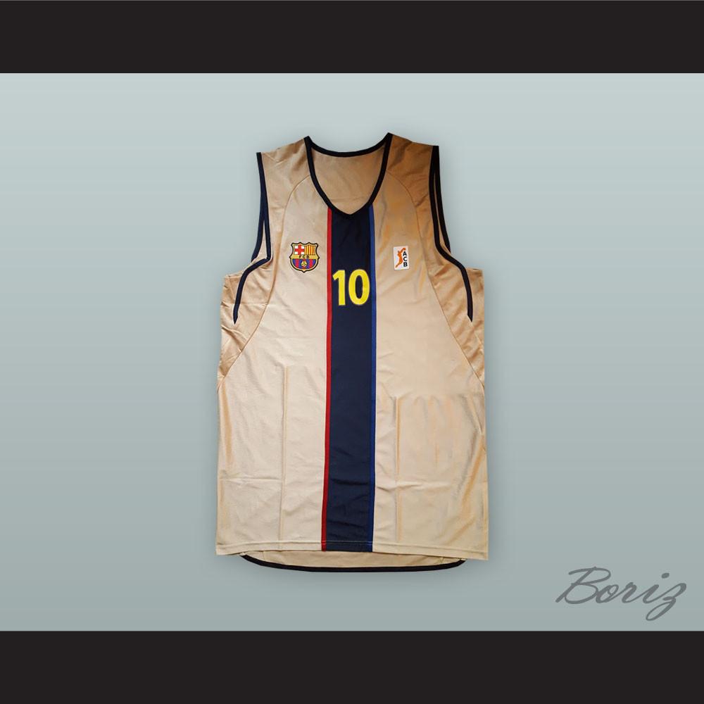 classic fit f84cd e1041 Dejan Bodiroga 10 FC Barcelona Tan Basketball Jersey