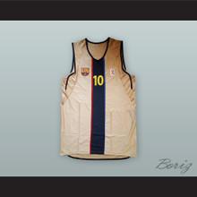 Dejan Bodiroga 10 FC Barcelona Tan Basketball Jersey