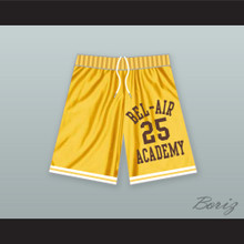 Carlton Banks 25 Bel-Air Academy Yellow Basketball Shorts