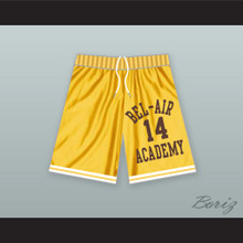 Will Smith 14 Bel-Air Academy Yellow Basketball Shorts