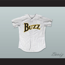 Carlton 'Doc' Windgate 35 Buzz White Pinstriped Baseball Jersey Major League: Back to the Minors