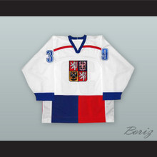 Dominik Hasek 39 Czech Republic White Hockey Jersey