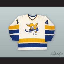 WHA 1974-75 Gary Gambucci 14 Minnesota Fighting Saints White Hockey Jersey