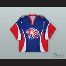 Jason Hewitt 7 Great Britain National Team Blue Hockey Jersey