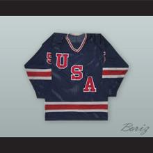 Mike Ramsey 5 1980 USA National Team Dark Blue Hockey Jersey