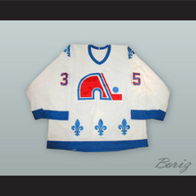 Stephane Fiset 35 Quebec Nordiques White Hockey Jersey