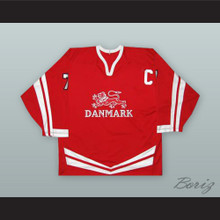 Jesper Damgaard 7 Denmark National Team Red Hockey Jersey