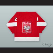 Mariusz Czerkawski 21 Poland National Team Red Hockey Jersey