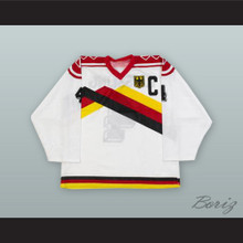 Udo Keissling 4 1989 West Germany White Hockey Jersey with Patch
