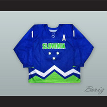 Anze Kopitar 11 Slovenia National Team Blue Hockey Jersey