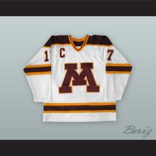 Larry Olimb 17 University of Minnesota Golden Gophers White Hockey Jersey