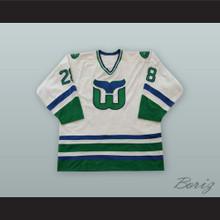 Pierre Larouche 28 Hartford Whalers White Hockey Jersey