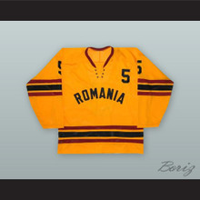1980 Sandor Gall 5 Romania National Team Yellow Hockey Jersey