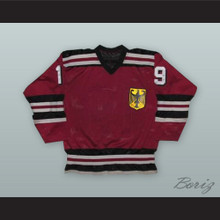 1980 Ernst Hofner 19 West Germany National Team Maroon Hockey Jersey