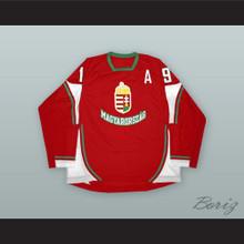 Gabor Ocskay 19 Hungary National Team Red Hockey Jersey