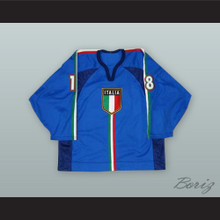 Manuel de Toni 18 Italy National Team Blue Hockey Jersey
