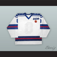 Torsten Hanusch 8 East Germany National Team White Hockey Jersey