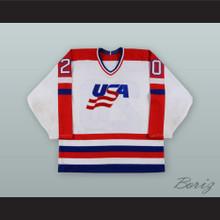 Allen Bourbeau 20 USA National Team White Hockey Jersey