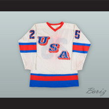 Buzz Schneider 25 USA National Team White Hockey Jersey