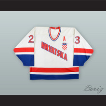 Gordan Smojver 23 Croatia National Team White Hockey Jersey