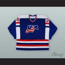Moe Mantha 43 USA National Team Blue Hockey Jersey