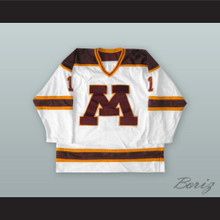 Robb Stauber 1 University of Minnesota White Hockey Jersey