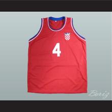 Drazen Petrovic 4 Croatia Red Basketball Jersey
