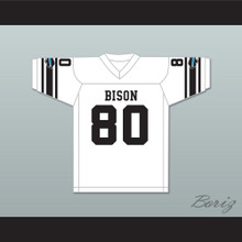 Tracy Two Dogs 80 Blue Springs Bison High School White Football Jersey The Slaughter Rule