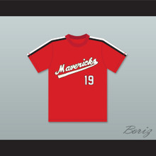 Joe Cox 19 Portland Mavericks Red Baseball Jersey The Battered Bastards of Baseball