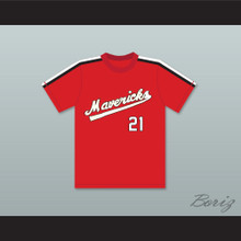 Larry Colton 21 Portland Mavericks Red Baseball Jersey The Battered Bastards of Baseball