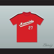Reggie Thomas 27 Portland Mavericks Red Baseball Jersey The Battered Bastards of Baseball