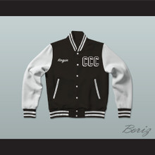 Kingpin Cartel Community College Black Varsity Letterman Jacket-Style Sweatshirt