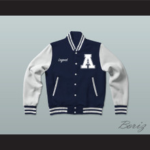 Hometown Legend Dark Blue Varsity Letterman Jacket-Style Sweatshirt