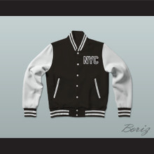 New York City NYC Queens Black Varsity Letterman Jacket-Style Sweatshirt