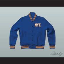 New York City NYC Manhattan Blue Varsity Letterman Jacket-Style Sweatshirt