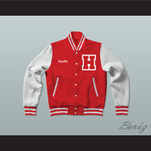 Hustler High School Red Varsity Letterman Jacket-Style Sweatshirt