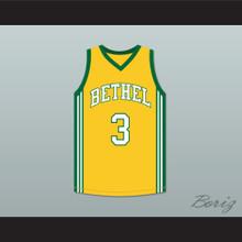 Allen Iverson 3 Bethel High School Bruins Yellow Basketball Jersey
