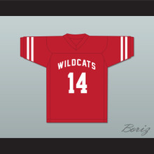 Troy Bolton 14 East High School Wildcats Red Football Jersey Design 1