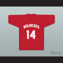 Troy Bolton 14 East High School Wildcats Red Football Jersey Design 2