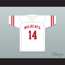 Troy Bolton 14 East High School Wildcats White Football Jersey Design 1