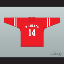 Troy Bolton 14 East High School Wildcats Red Hockey Jersey Design 1