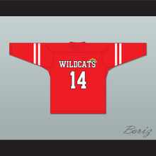 Troy Bolton 14 East High School Wildcats Red Hockey Jersey Design 2