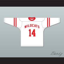 Troy Bolton 14 East High School Wildcats White Hockey Jersey Design 1