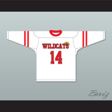 Troy Bolton 14 East High School Wildcats White Hockey Jersey Design 2
