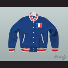 France Varsity Letterman Jacket-Style Sweatshirt