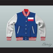 Polska/Poland Varsity Letterman Jacket-Style Sweatshirt