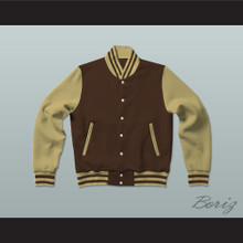 Brown and Tan Varsity Letterman Jacket-Style Sweatshirt