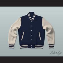 Dark Blue and Cream Varsity Letterman Jacket-Style Sweatshirt